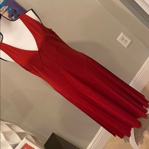 LRL Red Flare Holiday Sleeveless Dress L